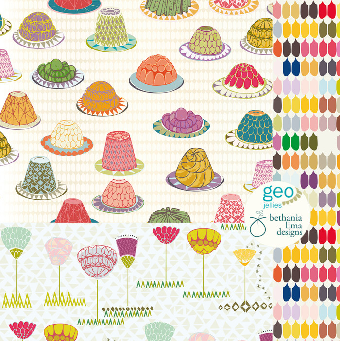 """Geo jellies"", pattern bolt fabirc collection. Design by Bethania Lima Designs. Part of MATS Bootcamp assignments."