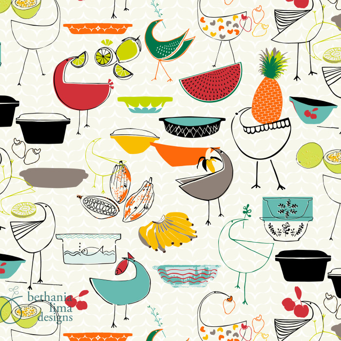 """Vintage Tropical Cuisine"", bolt fabric pattern, designed by Bethania Lima Designs."